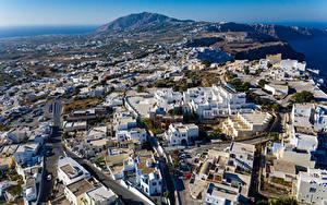 Картинка Греция Дома Улица Сверху Thira, South Aegean Города