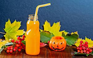 Картинка Хеллоуин Сок Тыква Рябина Доски Бутылка Листья Пища