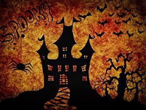 Обои Замки Летучие мыши Праздники Хеллоуин Силуэт
