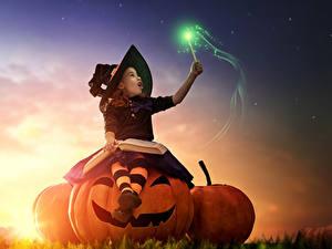 Картинка Хеллоуин Тыква Волшебство Ведьма Девочка Шляпы Книги Сидит Дети