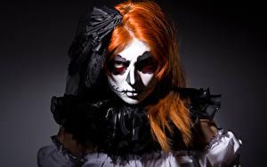 Фотография Хеллоуин Ведьма Рыжая Смотрит Мейкап Девушки