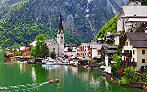 Фото Халльштатт Австрия Озеро Церковь Лодки Пирсы Gmunden County Города