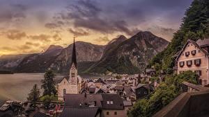 Обои Халльштатт Австрия Гора Дома Озеро