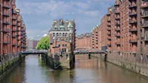 Картинки Гамбург Германия Здания Мост Водный канал Speicherstadt, Elba