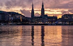 Фотография Гамбург Германия Речка Вечер Башни Alster город