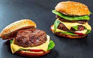 Обои Гамбургер Булочки Котлета Сыры 2