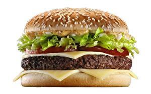 Фотографии Гамбургер Вблизи Котлета Сыры Белый фон Еда