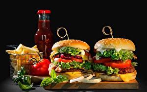 Фотографии Гамбургер Быстрое питание Овощи Кетчупом Пища