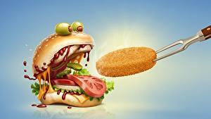 Картинки Гамбургер Томаты Оливки Кетчупом Юмор Еда