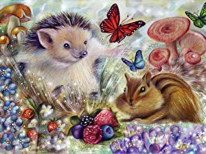 Фото Ежи Бурундуки Бабочка Рисованные Животные