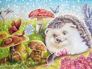 Фотографии Ежики Мыши Рисованные Грибы природа животное