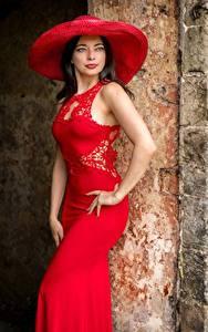 Картинка Брюнетка Позирует Платье Шляпе Красный Смотрят Helen Девушки