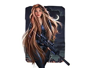 Обои Герои комиксов Scarlett Johansson Снайперская винтовка Волосы Шатенка Красивые Фан АРТ Black Widow (Natasha Romanova) Фантастика Девушки