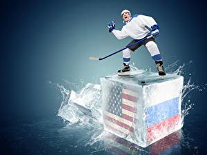 Фотографии Хоккей Мужчины Россия Штаты Униформа Брызги Спорт