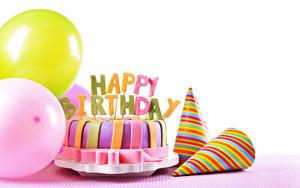 Обои Праздники День рождения Торты Воздушный шарик Белый фон