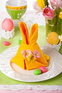 Фото Праздники Пасха Яйцами Тарелке Дизайн