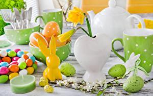 Фото Праздники Пасха Кролики Сладкая еда Свечи Нарциссы Яйца