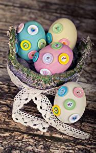 Обои Праздники Пасха Доски Корзина Яйца Дизайн Ленточка