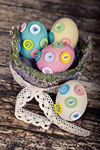 Обои Праздники Пасха Доски Корзинка Яйца Дизайн Ленточка