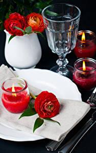 Картинка Праздники Лютик Свечи Водка Красный Рюмка Цветы