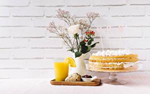 Фотографии Праздники Роза Торты Сок День матери Вазы Английская Слово - Надпись Стена Стакана