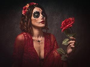 Фотография Праздники Розы Мейкап Венок Day of the Dead Девушки