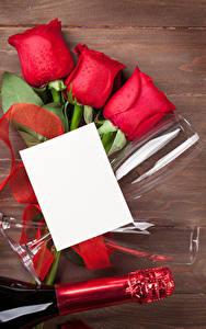 Картинка Праздники Роза Доски Шаблон поздравительной открытки Лист бумаги Красная Бокал