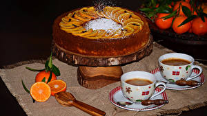 Картинка Праздники Сладости Торты Кофе Мандарины Чашке