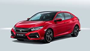 Фотографии Honda Красная Civic, Hatchback, 2016 Автомобили