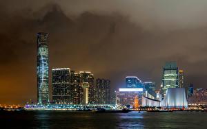 Фото Гонконг Небоскребы Ночью Заливы Victoria Harbour