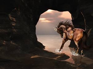 Картинка Лошади Пещера 3D_Графика
