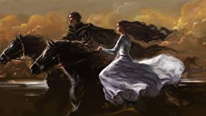 Обои Лошади Две Платья Фантастика Девушки