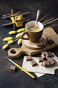 Фотография Горячий шоколад Шоколад Разделочная доска Чашке Продукты питания