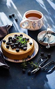 Картинка Какао напиток Сладости Черника Пирог Чашка Тарелке
