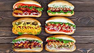 Фотография Хот-дог Быстрое питание Овощи Кетчупом Горчица Пища