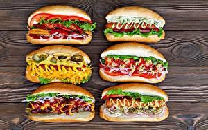 Фотография Хот-дог Быстрое питание Овощи Кетчупом Горчица