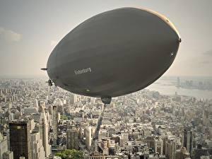 Фотография Здания Летит Сверху Airship, LZ 129 Hindenburg Города