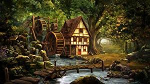 Картинка Дома Мосты Водяная мельница Ручей Природа