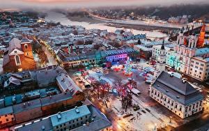 Картинки Дома Новый год Литва Сверху Городская площадь Елка Kaunas Города