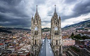 Обои Дома Церковь Эквадор Башни Quito, Basílica del Voto Nacional