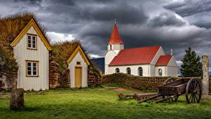 Картинки Здания Церковь Исландия Туч Glaumbaer, Skagafjörður Природа