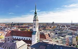 Фото Дома Церковь Мюнхен Германия Башни Бавария Frauenkirche Города