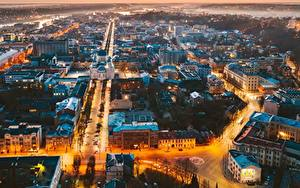 Фото Здания Вечер Литва Каунас Сверху