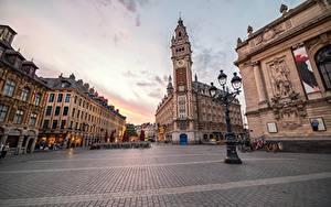 Фотографии Дома Франция Уличные фонари Улице Тротуар Lille город