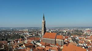 Картинка Дома Германия Церковь Башня Бавария St. Martin's Church, Landshut город