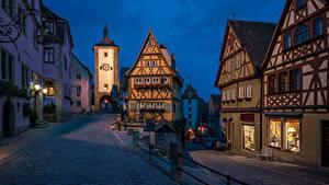 Картинки Здания Германия Бавария Башни Rothenburg Города