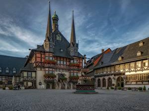 Обои для рабочего стола Здания Германия Улице Wernigerode Sachsen-Anhalt Города
