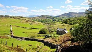 Картинки Дома Луга Великобритания Парк Холмы Уэльс Snowdonia national Park Природа