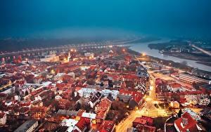 Фотографии Дома Литва Вечер Сверху Kaunas Города