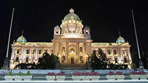Фотографии Здания Сербия Уличные фонари Ночные National Assembly Belgrade Города